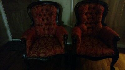 Victorian Queen Anne Chairs Set of Two Red