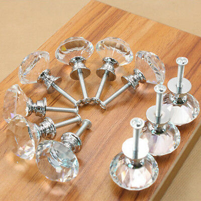 16Pcs Diamond Crystal Glass Door Drawer Cabinet Wardrobe Pull Handle Knobs 35mm