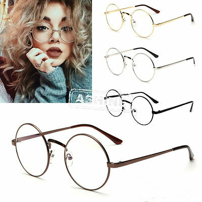 Big Round Metal Frame Clear lens Vintage Fashion Retro Geek Glasses Specs Unisex
