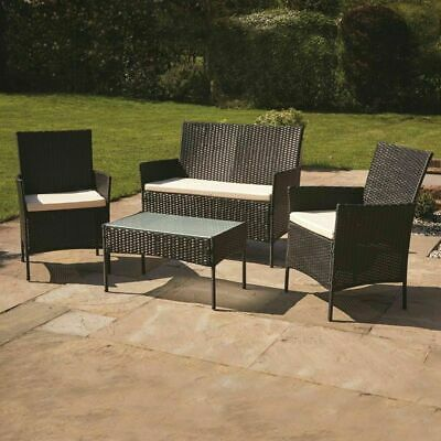Wido 4 SEATER GARDEN PATIO BROWN RATTAN SOFA SET OUTDOOR FURNITURE CONSERVATORY