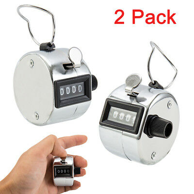 2pcs 4 Digit Number Handheld Tally Mechanical Clicker Golf Stroke Hand Counter