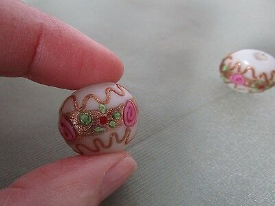 Vintage Venitian Glass Beads Wedding Cake 3 beads pink gold ruby red Green icing