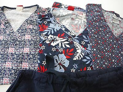 Womans Lot Of Scrub  3 Tops And 1 Pants    Size Large   Navy  (Box 382)