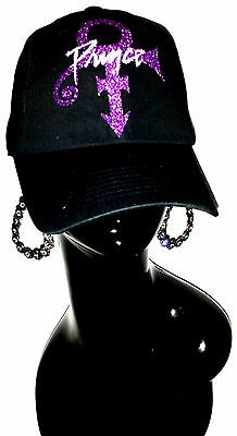 Prince-RIP-Sexy Black Fitted Adjustable B~ball Cap.The Legend Rock On!