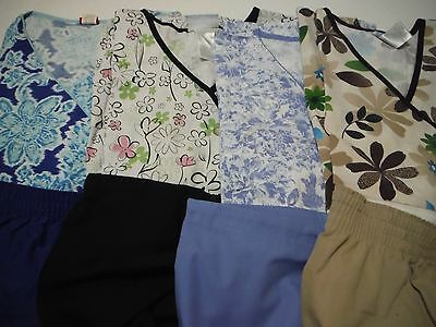 Womans Lot Of Scrub Sets 4 Tops And 4 Pants Very Nice Size Xxl (Box 390)