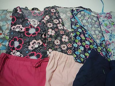 Womans Lot Of Scrub Sets 5 Tops And 5 Pants Very Nice Size Med (Box 391)
