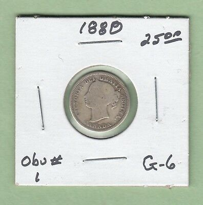 1880 Canadian 10 Cents Silver Coin - Obverse 1 - G-6