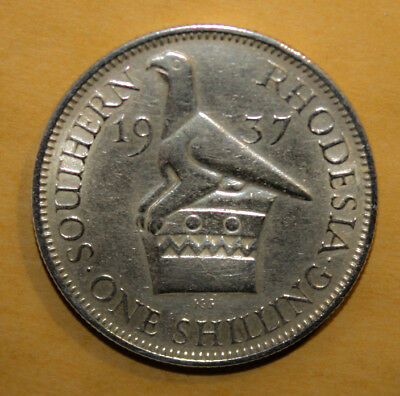 Southern Rhodesia 1 Shilling 1937 Extremely Fine + Silver Coin - King George VI