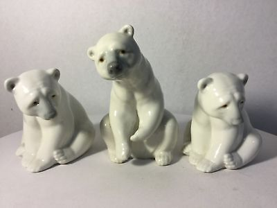 Lot of 3 Lladro Porcelain Figurines White Polar Bears 1208 & (2) 1209 Seated