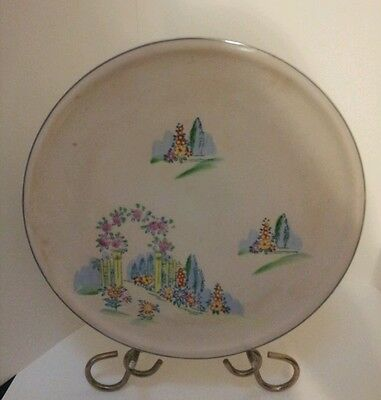 Vintage MIKORI Ware Hand Painted Cake Serving Plate 11-7/8 inches.  Japan