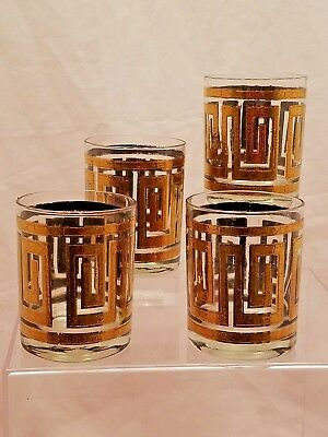 CULVER 22k GOLD GREEK KEY DOUBLE OLD FASHIONED ROCKS GLASSES SET OF 4 MIDCENTURY