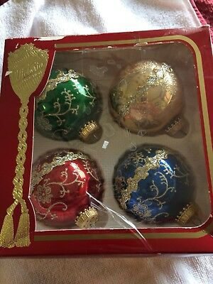 Vintage Victoria Glass Christmas Gold, Red, Blue, Green Embellished  ORNAMENTS