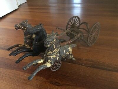 Antique KENTON Hose Reel Horse-Drawn Fire Toy Cast Iron 11 1/2 Inches Wilkins