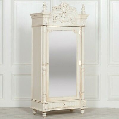 French Ornate Chateau Style Aged Ivory Single Mirror Door Armoire Wardrobe