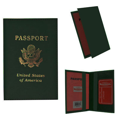 Leather Passport Holder Organizer Holder Card Case Protector Cover Wallet Green