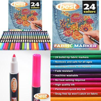 Best Fabric Markers (Pack Of 24 Pens) Non-Toxic - Set Of 24 Individual Colors -