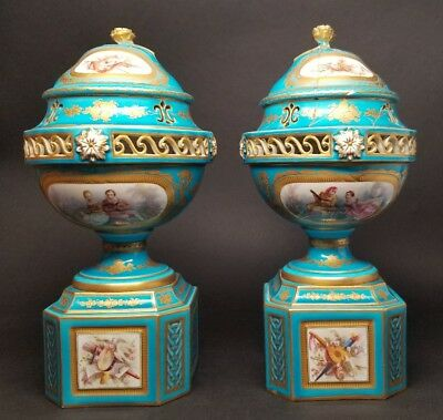Antique Pair Sevres Bleu Celeste Blue Pot-Pourri Urns ca1759 Porcelain RESTORED