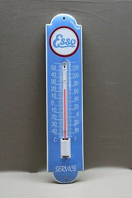 Esso Gasoline Blue   Porcelain Thermometer  Sign  Gas Oil Car Farm  Ford Motor