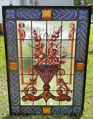 Beautiful Bouquet Antique Leaded and Stained Glass Window H41 x W29""