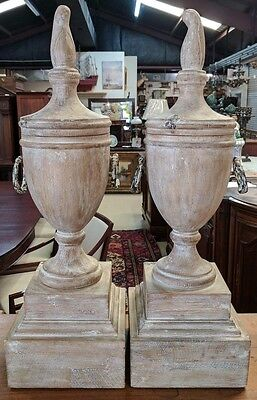 "Pair  H 28"" Turned Wood Urns w Finials White Washed 9"" Sq Base"