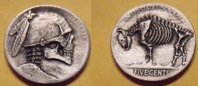 Hand Carved  Hobo nickel coin Buffalo   Full skull zombie skeleton