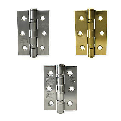 "Ball Bearing Door Hinges 3""x 2"" 75mm x 50mm Satin, Chrome and Polished Brass"