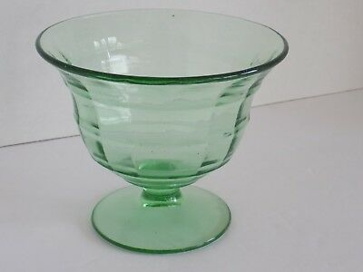 """Green Depression Glass BLOCK OPTIC Footed Mayo or Candy Dish Bowl 4 3/4"""" tall"""