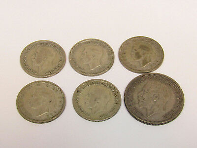 Lot Of Vintage Silver Great Britain Coins Sixpence Shillings George V&VI