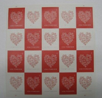 200 USPS Forever Stamps - Heart Postage  10 Sheets of 20 Stamps USA Seller