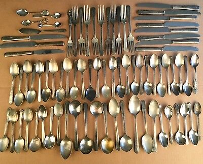 Antique Art Deco Ornate Silverplate Lot Vintage Floral Spoons Forks Knives 78 pc