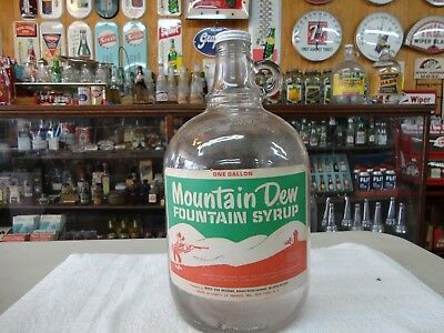 Mountain Dew Soda Fountain Syrup Paper Label 1 Gallon Jug Clear Glass Hillbilly