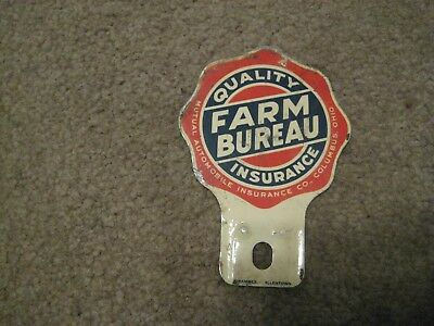 Vintage Metal Quality Farm Bureau Insurance License Plate Automobile Car Topper