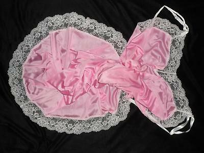 Vtg GORGEOUS PINK 46 44 2X 3X 26 Plus Size Lacy Full Slip Dress Nylon Lace