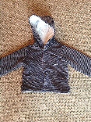M&S baby boys navy striped coat age 9-12 months