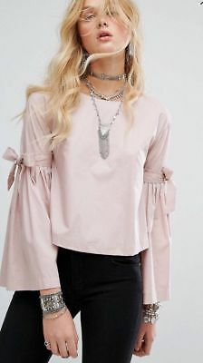 Nwt Free People So Obviously Yours Ballet Pink Cotton Poplin Bell Sleeve Top M