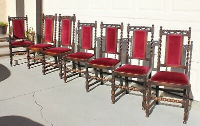Vintage Antique Hand Carved Oak Dining Chairs, English/French Barley Twist