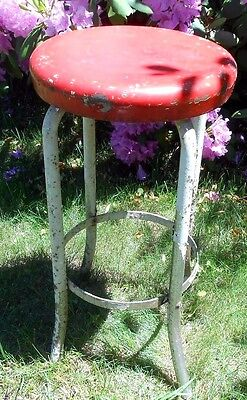 Vintage Mid Century Modern Red & White Distressed Metal Stool Home Decor Stand