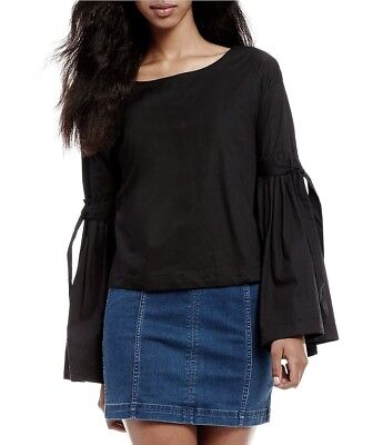 ab6a831727 Nwt Free People  98 So Obviously Yours Black Cotton Poplin Bell Sleeve Top M