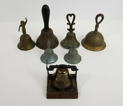 Vintage LOT OF 7 Brass Metal Ornate Bells Dinner Teacher School Farm Kitchen