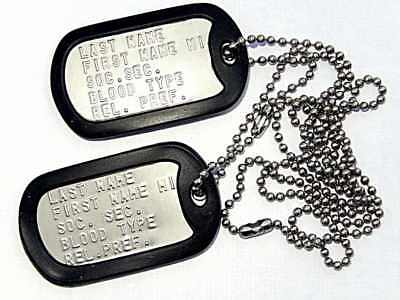 Military Dog Tag Set, 2 Stainless ID Tags, 2 Chains, 2 Silencers, Embossed, G.I.