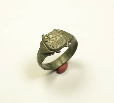 Impressive Ancient Roman Bronze Finger Ring With Decorated Bezel - Wearable