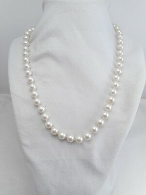 Vintage Jewelry Pretty Cream Color Knotted Glass Faux Pearl Silver Tone Necklace