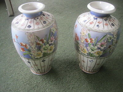 "PAIR OF Large ANTIQUE HAND PAINTED JAPANESE VASES  13"" x 7"" each SPECTACULAR!"
