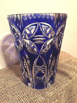 Saint Louis?/Style Crystal, France Large Cobalt Blue Cut to Clear Vase-Heavy!