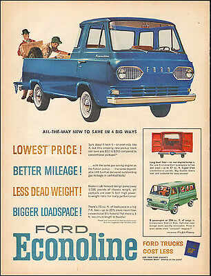 1961 Vintage ad for `61 Ford Econoline Trucks retro Red Blue Green  071917
