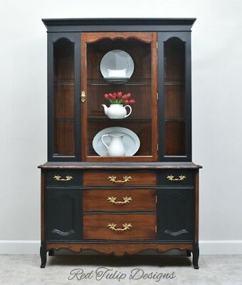 Vintage French Provincial Cherry Wood China Cabinet Hutch Cupboard Buffet