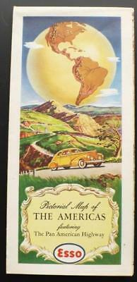 1940s ESSO Gas & Oil Pictorial Map of North & South America Pan American Highway
