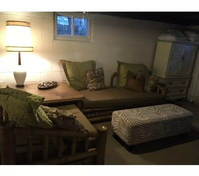 Mid Century Extra Large Bamboo Daybeds With Large Table