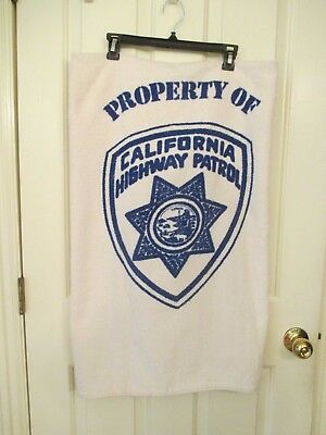 Vtg CALIFORNIA HIGHWAY PATROL Huge TOWEL Beach Bath CHP Calif Badge Cal ESTATE