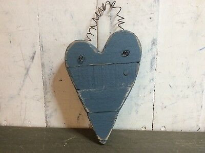 Distressed Small Blue Wooden Divided Heart on Wire Hanger